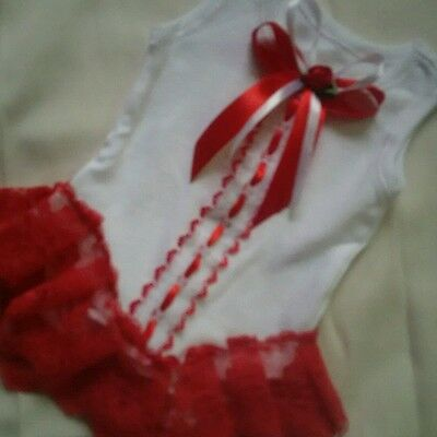 Pretty Frilly Red & White Vest  Newborn
