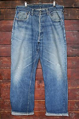 Rare Vtg 1947-55 Levi's 501Xx Big E Hidden Rivet Selvedge Denim Jeans W34 L31