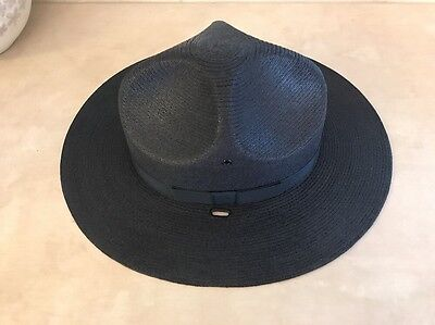 Stratton Self Forming Straw Campaign Hat Navy Blue Size 6 7/8