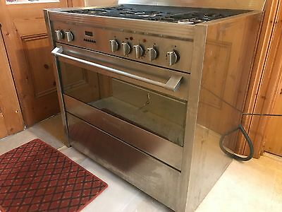 Wide Stainless Steel Bompani Duel Fuel Range (Gas Hob and Electric Oven)