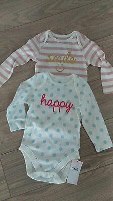 BNWT M&S baby girl vests 9-12 months marks and Spencer romper sleepsuit