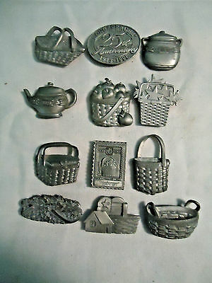 COLLECTIBLE LONGABERGER BASKET PEWTER MAGNETS Lot 11 total 25th Anniversary etc.