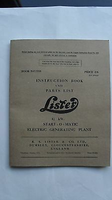 Lister CS (Type 8/1), Instruction Book and Parts List for 4.1/2kW Start-O-Matic