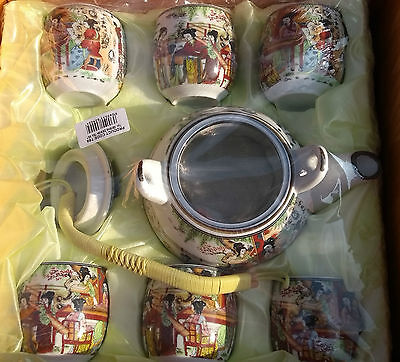 New Unopened Chinese / Oriental Porcelain Tea Set With Teapot And 6 Cups Boxed