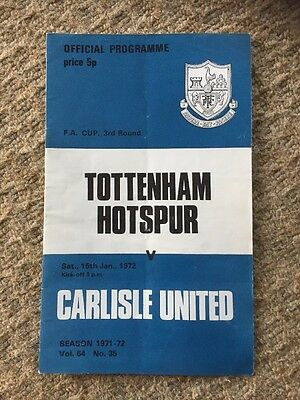 15th January 1972 Tottenham H. v Carlisle United Programme FA CUP 3rd Round