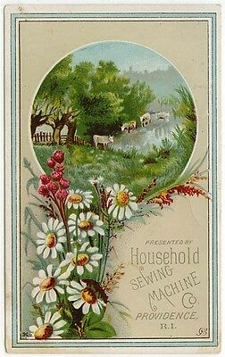 Vintage Household Sewing Machine Trade Card, Country Scene, Pretty Flowers