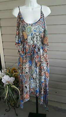 BETHANY Dress Cold Shoulder Asymmetrical Long Chiffon Lined Belted Multi NWT$89