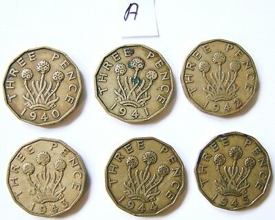 A Very Collectable Set Of 6 Ww2 King George Vi Brass Three Penny Coins 1940-1945