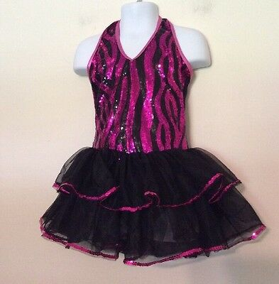 Weissman Girl's Dance Costume Black Pink Sequins Size Small