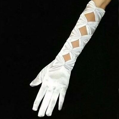 Stretchy Satin Bride Opera Elbow Length Full Finger Wedding Evening Party Gloves