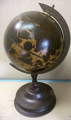 "Vintage 8"" Italian Wooden Old World Globe Rustic Accent Art"