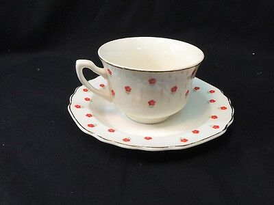 WS George Lido Blushing Rose Cup And Saucer Red Flowers Gold Trim