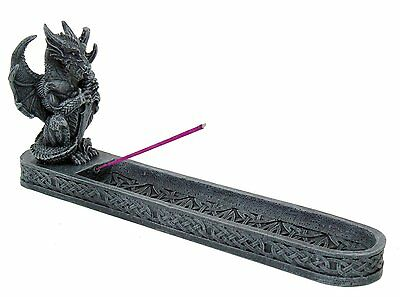 "Dark Gray Grey Dragon Gargoyle with Sword 10"" Resin Incense Burner #9392"