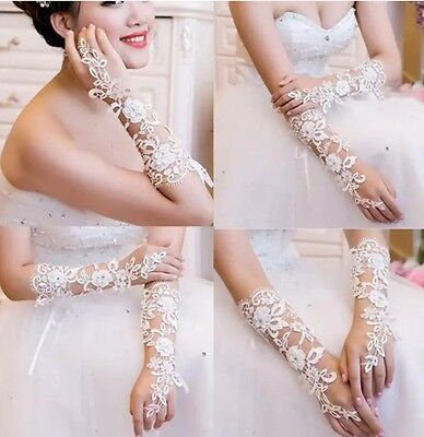 New White Wedding Bridal Prom Party Lace Flower Fingerless Gloves