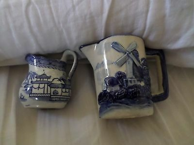 Pair of Antique Blue and White Ironstone and/or Delft Creamers - Special