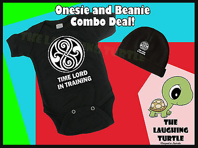 Dr Who. Time Lord in Training. Retro Cool Baby Cotton Romper and Beanie Combo