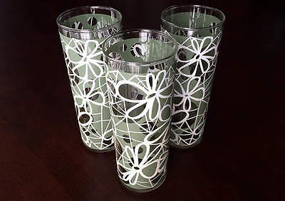 Vintage 1970's Floral Highball Drinking Glasses by Dominion Glassware Company