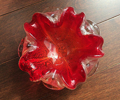 Vintage 1960's Murano Red and Silver Art Glass Ash Tray / Cigar Bowl / Ashtray