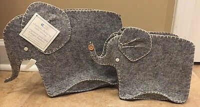 NEW 2PC Pottery Barn Kids Elephant Changing Table Storage Bins GRAY