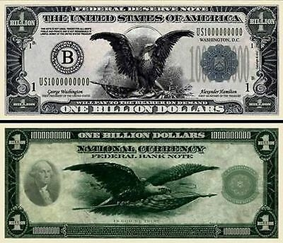 Vintage-Style Eagle Billion Dollar Bill Funny Money Novelty Note + FREE SLEEVE