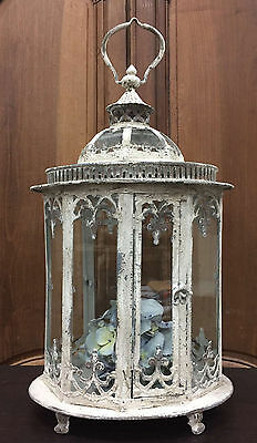 HUGE Antique French Styled Lantern Candles terrarium Metal Glass Reproduction