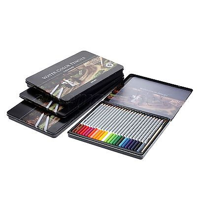 Pro Art Supplies 24/36/48/72Color Water Soluble Drawing Sketch Pencils Metal Box