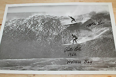 Vintage Surfing Max Lim Peter Cole AUTOGRAPHED PHOTOGRAPHY 1962, 12x18in. POSTER