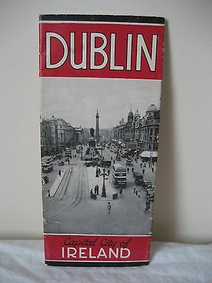 Antique / Vintage  Dublin Capital City Of Ireland Tourist Map 1920'S