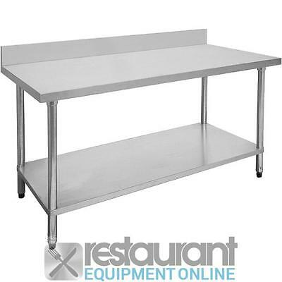 F.E.D Economic S/S Table with Splashback 700mm Deep Stainless Steel   Prep Bench