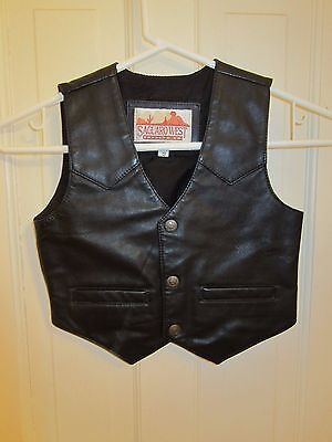 Black Leather Vest Made By Saguaro West - Child's Small Size