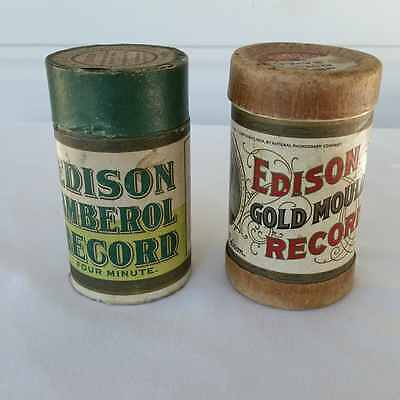 Edison Record Cylinder Amberol Gold Moulded Lot of 2
