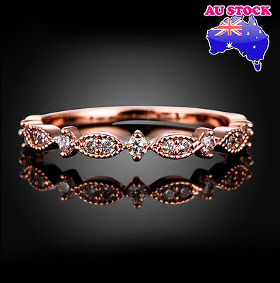 18K Rose Gold Filled Cubic Zirconia Engagement Ring Size 5-7