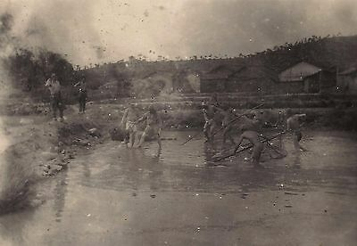 OLD VINTAGE WWII JAPAN PHOTO of JAPANESE SOLDIERS FISHING IN RIVER