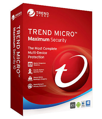 Trend Micro Maximum Security 2017  1 Year 3 PC For Windows, Mac, Android