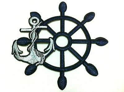 PRETTY CUTE WHITE ANCHOR WITH GOLDEN ROPE Embroidered Iron on Patch Free Postage
