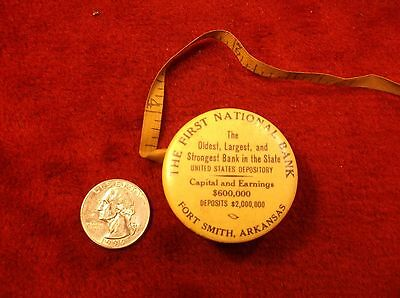 "RARE VTG ANTIQUE CELLULOID TAPE MEASURE ""1st NATIONAL BANK, FORT SMITH ARKANSAS"""