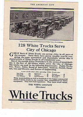 "1923 White Trucks ""City Of Chicago"" Vintage Print Advertisement"