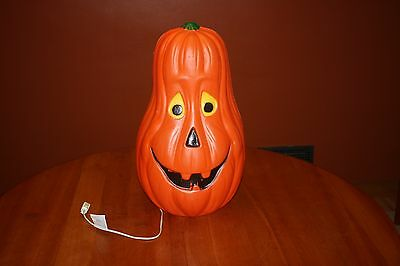 "Vintage 22"" Drainage Happy Blow Mold Gourd Pumpkin Yellow Eyes Lighted Halloween"