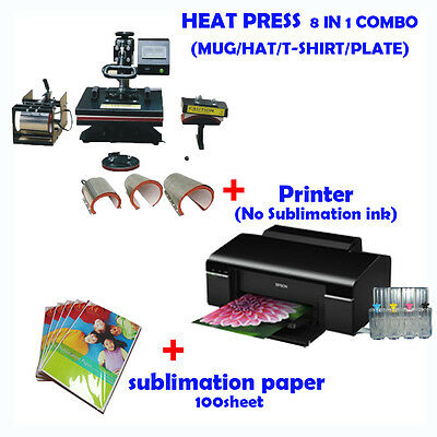 8 in 1 HEAT PRESS MACHINE + Printer (No Sublimation ink) + Sublimation paper