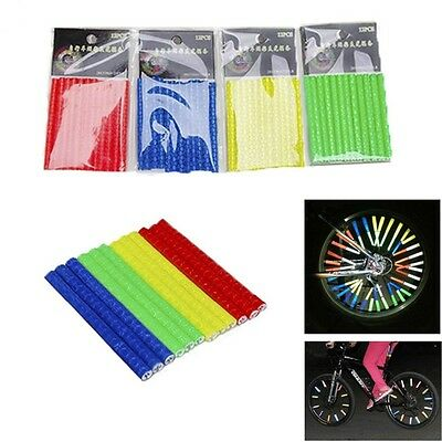 12pcs Tube Bicycle Bike Warning Light Wheel Rim Spoke Reflector