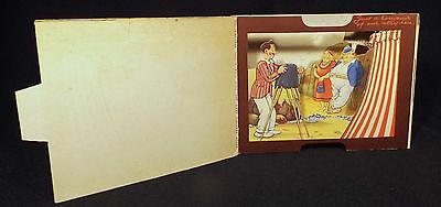 Scarce 3D Diorama Fold Out Brent Postal Card British Sea Side Humour 4 Donkeys