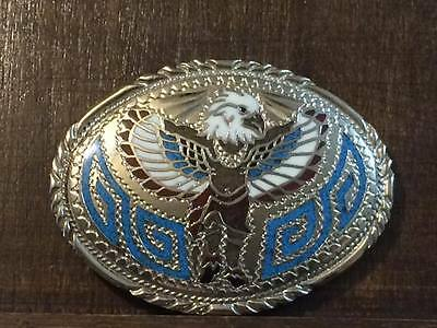 S.S.I 1988 Handcrafted native eagle themed belt buckle made in USA