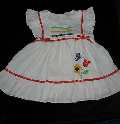 Adorable Vintage Baby Togs Girl's Dress Or Pinafore Primary Color Accents 3T