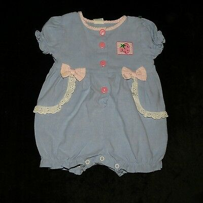 Sweet Vintage Tawil Baby Girls Bubble Romper Evc 6-9 Months Gingham Bows Eyelet