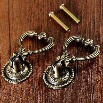 2 x European Antique Brass Drop Handles Vintage Cabinet Drawer Pull Knobs  C3MB