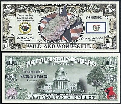 West Virginia State Million Dollar Bill Collectible Funny Money Novelty Note