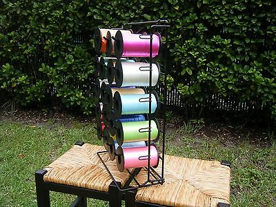 Curling Ribbon Rack Organizer Dispenser w/32 Curling Ribbon Spools Metal EUC!