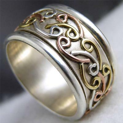 SUCH IS MY LIFE Spinner Size US 6 SILVERSARI Meditation Ring Solid 925 Silver