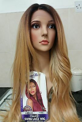 100% human hair lace wig, Swiss lace, silk based lace, hand tied, ombre blonde