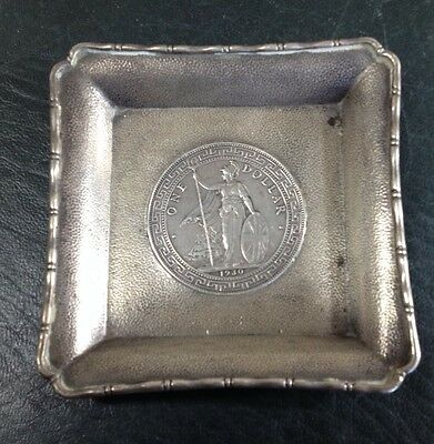 1930 English Trade Dollar Coin In Chinese Export Silver Dish